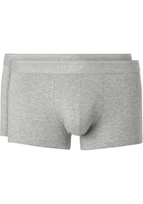 Sunspel - Two-Pack Stretch-Cotton Boxer Briefs - Men - Gray