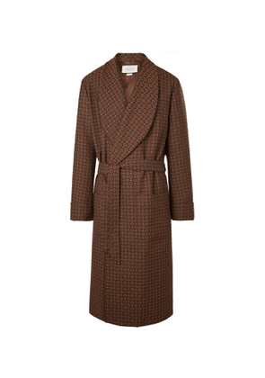 GUCCI - Shawl-Collar Belted Piped Logo-Jacquard Twill Coat - Men - Brown