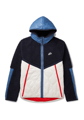 NIKE - NSW Panelled Fleece and Quilted Shell Hooded Jacket - Men - Blue