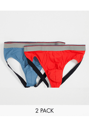 ASOS DESIGN 2 pack jock strap with mixed branded waistband-Multi