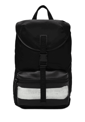 Latex Logo Nylon Leather Backpack