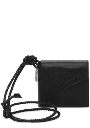 Logo Leather Wallet W/ Cord Neck Strap