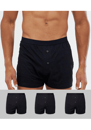 ASOS DESIGN 3 pack jersey boxers in black