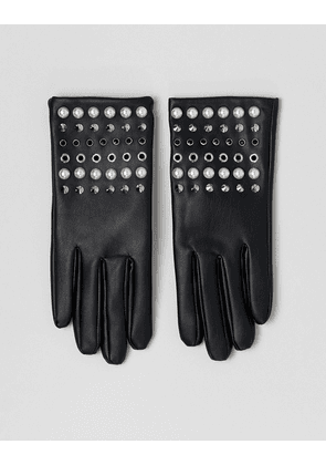 ASOS DESIGN leather look gloves with pearl and stud detail-Black