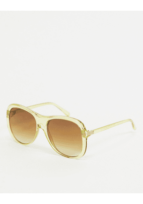ASOS DESIGN recycled frame oversized plastic aviator sunglasses in yellow