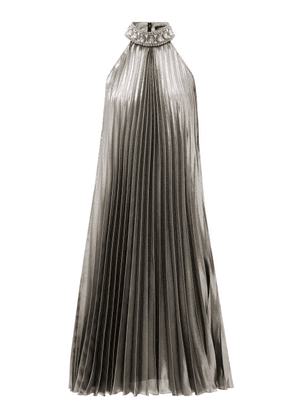 Andrew Gn - Crystal-collar Pleated Silk-blend Lamé Dress - Womens - Silver