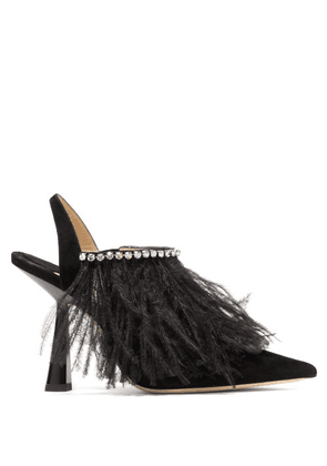 Jimmy Choo - Ambre 100 Feathered Suede Slingback Pumps - Womens - Black