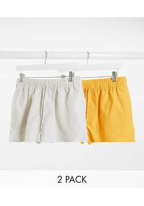 ASOS DESIGN 2 pack swim shorts in beige and yellow short length save-Multi