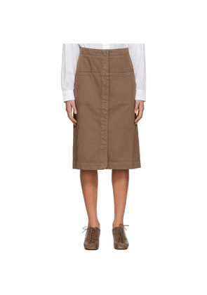 Lemaire Brown Denim Straight Skirt