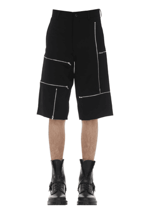 Formal Zip Wool Gabardine Shorts