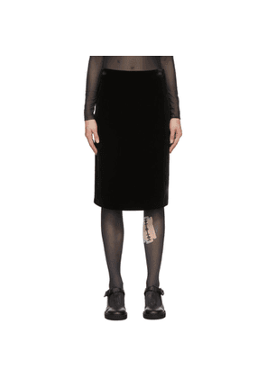We11done Black Velour Mid-Length Skirt