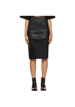 We11done Black Faux-Leather Pleated Mid-Length Skirt