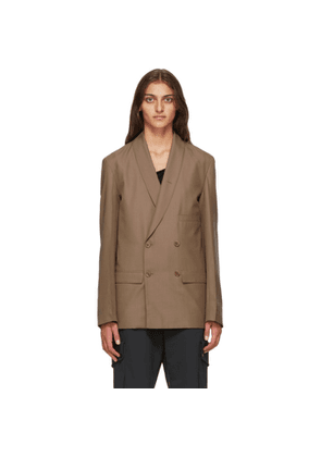 Lemaire Beige Wool Double-Breasted Belted Blazer