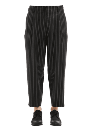 Striped Lamé Wool Twill Wide Pants