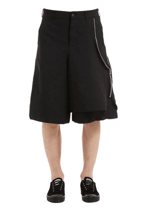 Wrinkled Double Twill Shorts W/ Zip