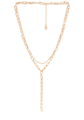 8 Other Reasons South Palm Lariat Necklace in Metallic Gold.