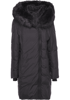 Dkny Faux Fur-trimmed Quilted Shell Hooded Coat Woman Black Size XS