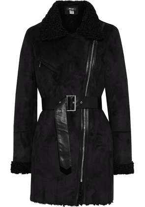 Dkny Belted Faux Shearling Coat Woman Black Size M
