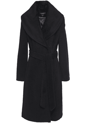 Dkny Belted Brushed Wool-blend Coat Woman Black Size 10