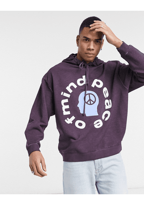 ASOS DESIGN oversized hoodie rich purple oil wash with peace of mind print