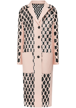 Fendi Two-tone Laser-cut Leather Coat Woman Baby pink Size 38