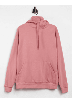 ASOS DESIGN oversized hoodie with double layer funnel neck in pink