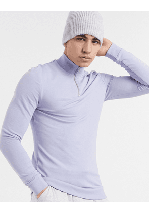 ASOS DESIGN organic muscle half zip sweatshirt in lilac-Blue