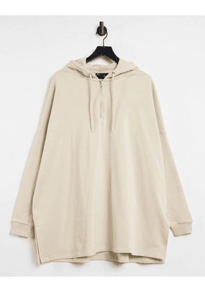 ASOS DESIGN extreme oversized hoodie with half zip in beige