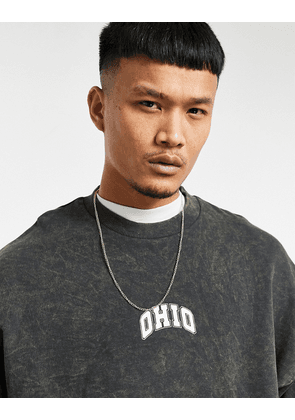 ASOS DESIGN oversized washed sweatshirt with Ohio collegiate print-Black