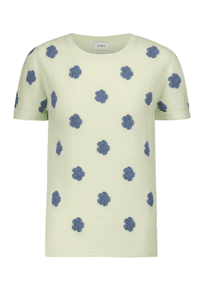 Embroidered cashmere and cotton T-shirt