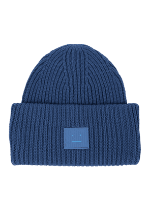 Face ribbed-knit wool beanie