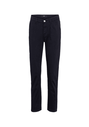 Mid-rise slim cropped twill pants
