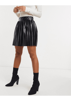 ASOS DESIGN leather look mini pleated tennis skirt in black