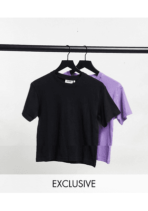 Weekday Alanis organic cotton 2 pack t-shirt in black and purple-Multi