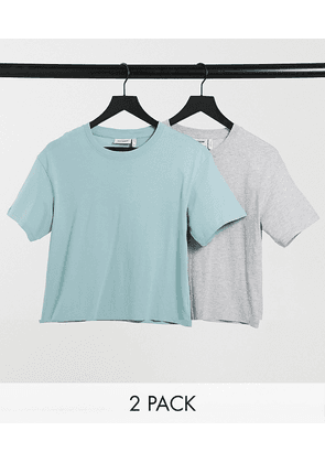 Weekday Alanis organic cotton 2 pack t-shirt in grey and green-Multi