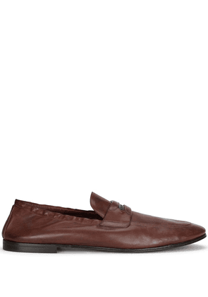Dolce & Gabbana logo-embossed leather slippers - Brown