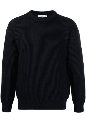 Closed crew-neck knitted jumper - Blue