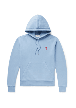 AMI PARIS - Logo-Embroidered Loopback Cotton-Jersey Hoodie - Men - Blue