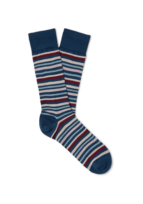 MARCOLIANI - Striped Pima Cotton-Blend Lisle Socks - Men - Blue