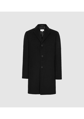 Reiss Gable - Wool-blend Epsom Overcoat in Black, Mens, Size XL