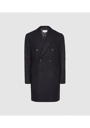 Reiss Lewis - Wool Blend Double Breasted Overcoat in Navy, Mens, Size L