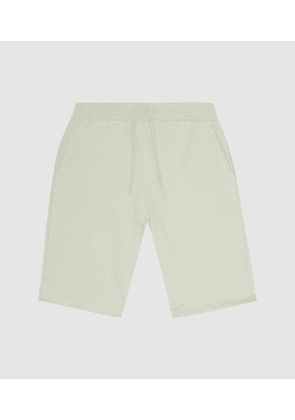 Reiss Belsay - Garment-dyed Jersey Shorts in Soft Sage, Mens, Size XS