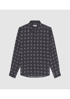 Reiss Punk - Geo Print Shirt in Black, Mens, Size L