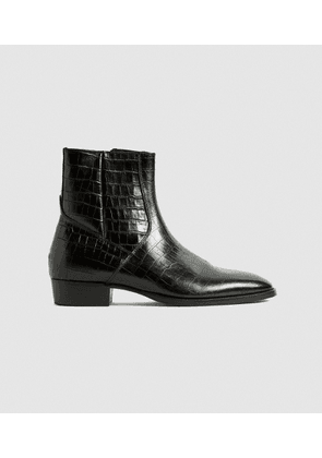 Reiss Phoenix - Leather Croc Embossed Cuban Boots in Black, Mens, Size 10