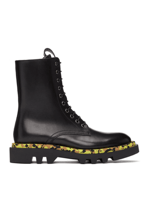 Givenchy Black Leather Camo Combat Lace-Up Boots