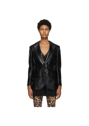 Junya Watanabe Black Faux-Leather Belted Blazer