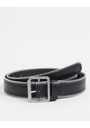 ASOS DESIGN slim belt in black faux leather with zip edge detail