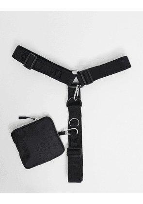 ASOS DESIGN harness belt with clip on pouch and D rings-Black