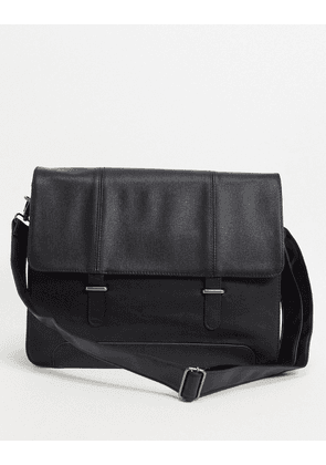 ASOS DESIGN satchel in black faux leather with saffiano emboss