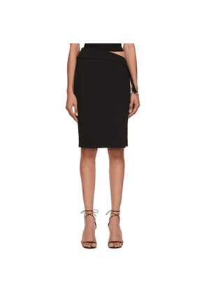 Mugler Black New Tech Scuba High-Slit Skirt